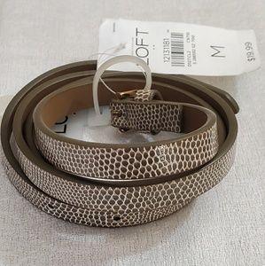 LOFT Taupe Animal Print Belt (M) #399